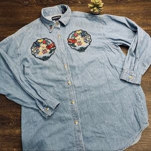 Vintage Bears with Presents Denim Button Top Large